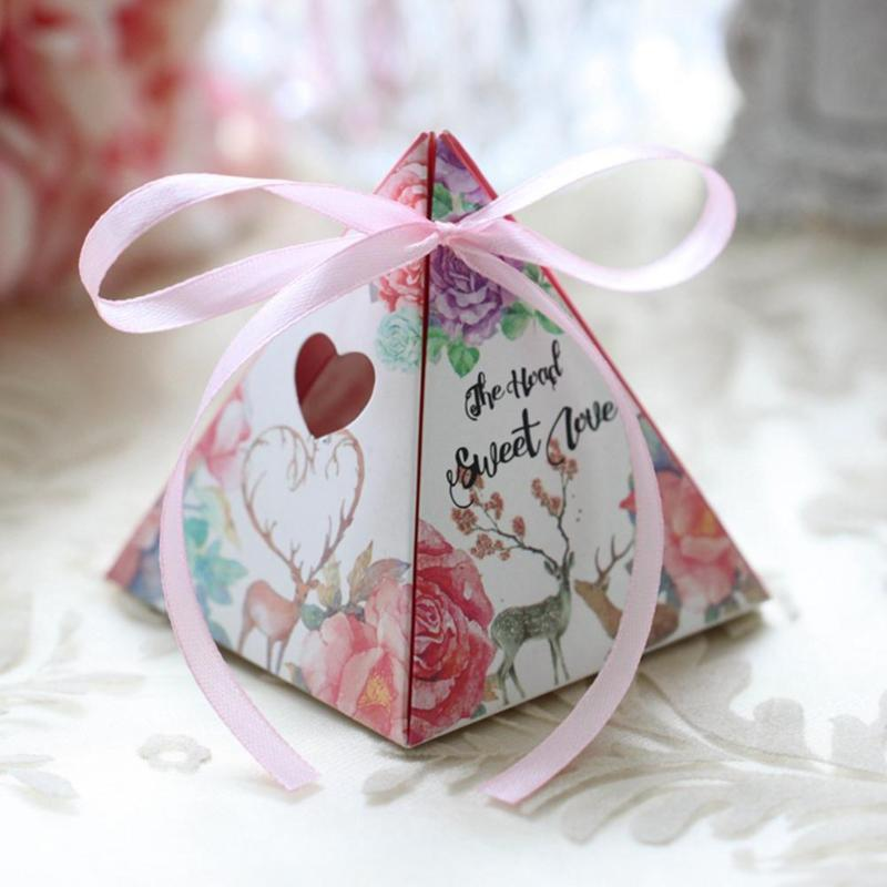 20x Triangle Candy Box Gifts Boxes for Wedding Baby Shower Party Decor Supplies