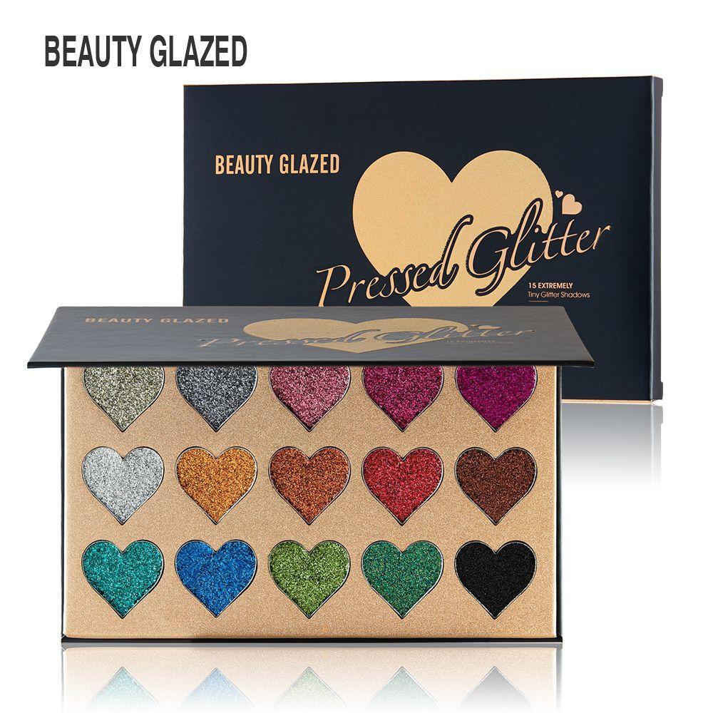 Yeni Sıcak Marka Güzellik Sırlı 15 Renk Preslenmiş Glitter Göz Farı Paleti Kalp şekli Makyaj Kontur Metalik İpeksi Toz paleti DHL gemi