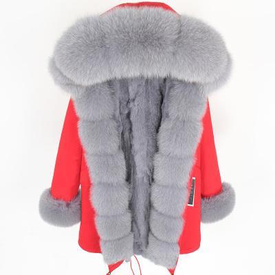 polsino manica assetto Soglia grigia pelliccia di volpe di vendita calda pelliccia Maomaokong pellicce di coniglio grigio allineate lungo parka calde pellicce giubbe rosse
