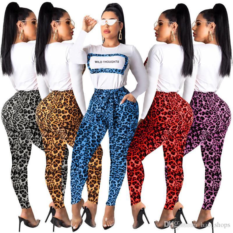 여성 운동복 긴 소매 T 셔츠 스웨터 + 바지 바지 두 조각 세트 가을 O 넥 T 셔츠 의상 패션 스포츠웨어를 인쇄 표범