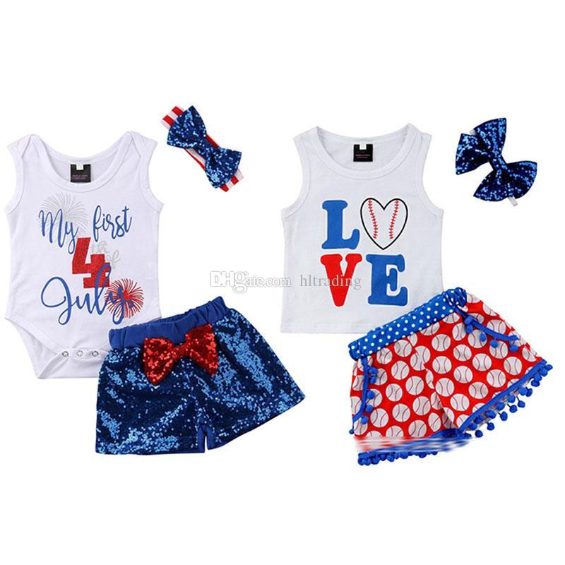أطفال مصمم ملابس الفتيات إلكتروني العلم الأمريكي وتتسابق الرضع البيسبول الأعلى + الترتر السراويل + العصابة 3 قطعة / المجموعة الصيف طفل الملابس مجموعات C6539