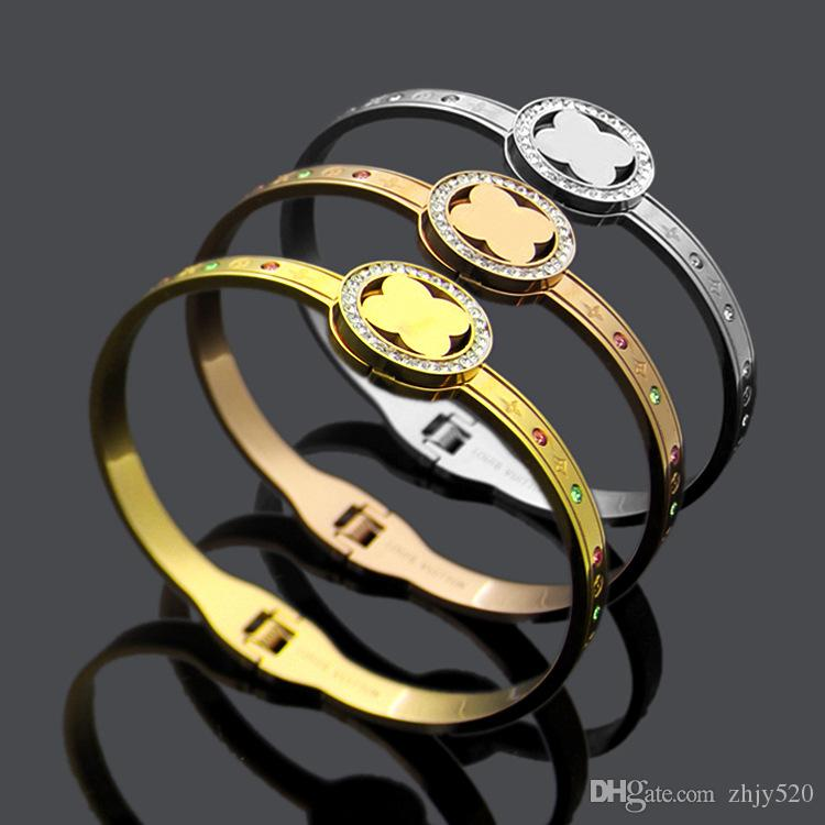 Top brand name 316L stainless steel charm bracelet&bangles with Colored crystal for women Brand jewelry free shipping