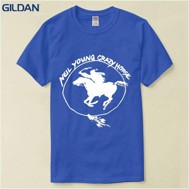 100% algodón Camisetas de moda Hipster Tee Tops Nuevo Neil Young Crazy Horse Zum O Neck Hombres Camisas cortas de algodón