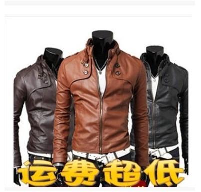 uomini cappotto della molla coreana e autunno Mock Neck adatta locomotiva cappotto degli uomini del rivestimento dell'unità di elaborazione uomini giacca di pelle giacca di cuoio casuali