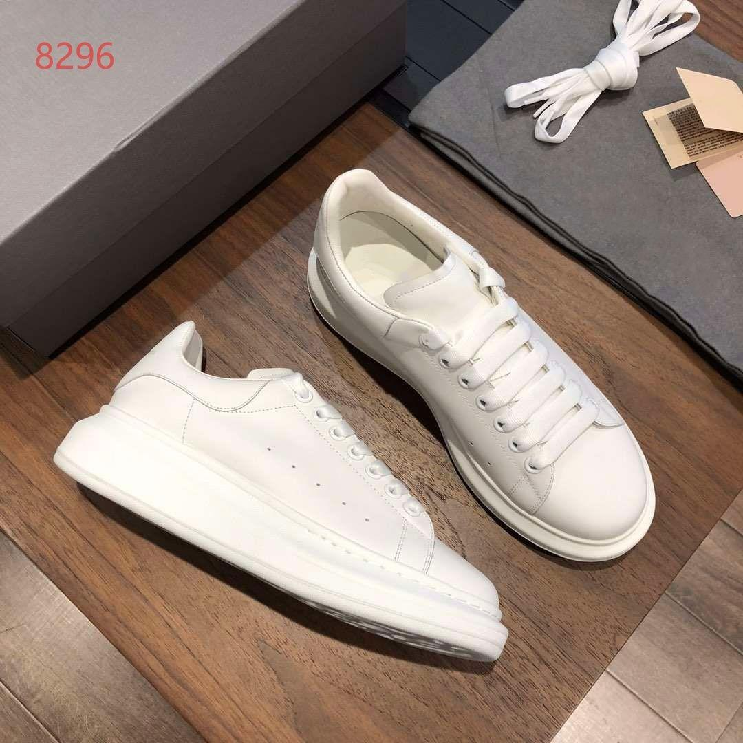 Men Women Lace Up Leather Sneakers