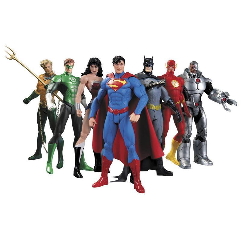 DC Superman Batman Toy Collectibles Liga da Justiça Action Figure Superman Modelo coleção Toy presente 7pcs / Set