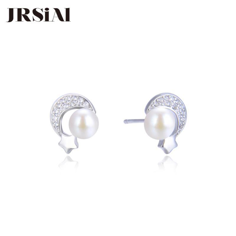 JRSIAL 925 Sterling Silver Jewelry água doce da pérola brincos Estrela e Lua Zircon Brincos coreano Moda Bead