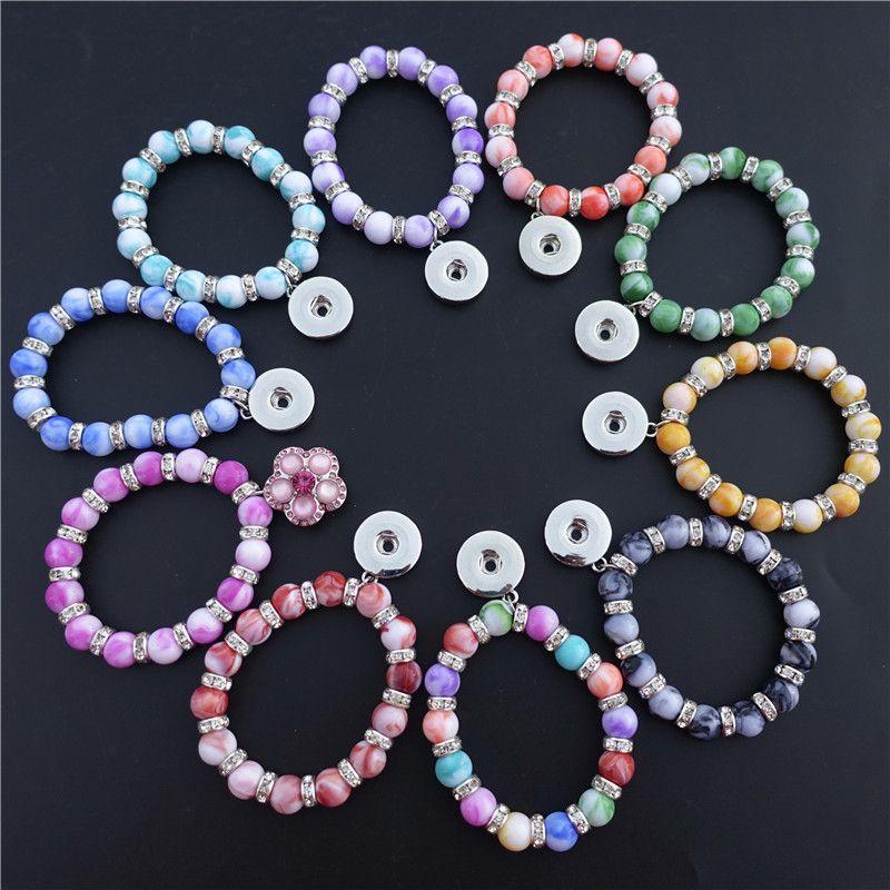 Acrylic Marble Beaded Stretchy Bracelet Children Girls Boys Teen Metal 18mm Snap Buttons Bracelet Noosa Chunks Ginger Jewelry