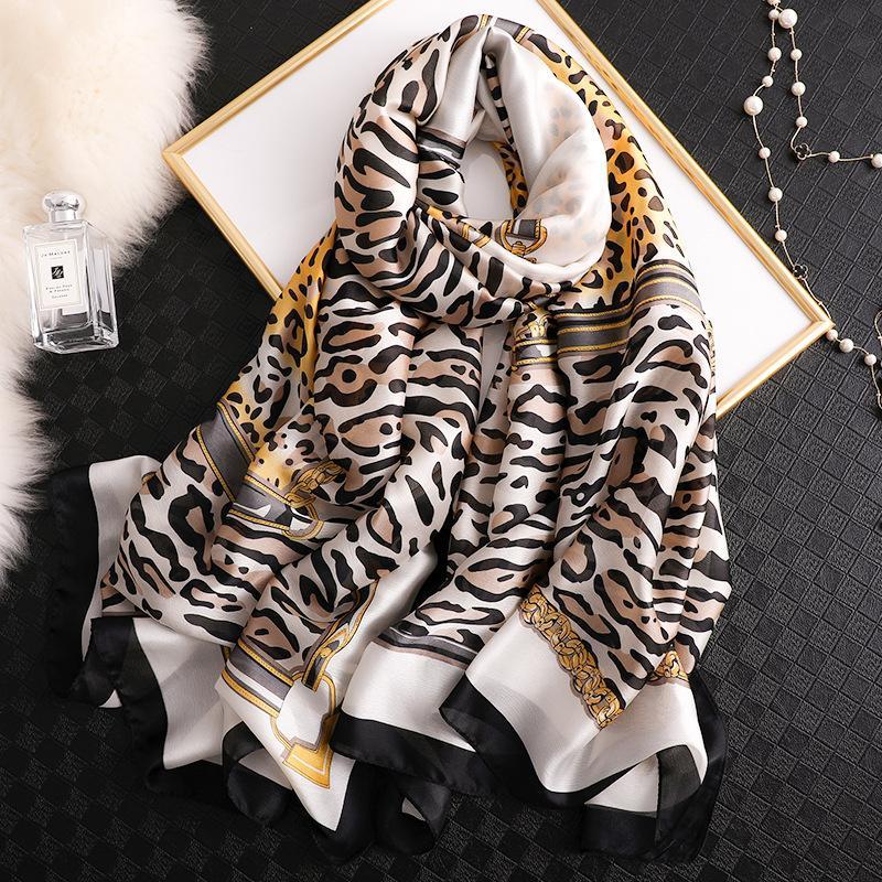 2020 весна осень шелковый шарф Женщины цифровой печати Leopard пашмины шали Платки Femme Soft Silk Bufanda Accesorios Mujer Новый SFN519