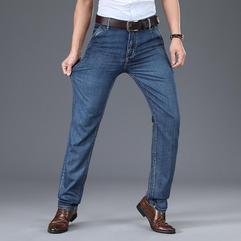 Cotton elástico e calças de ganga de verão 2020 de jeans negócio de trabalho magro cintura alta calças dos homens dos homens