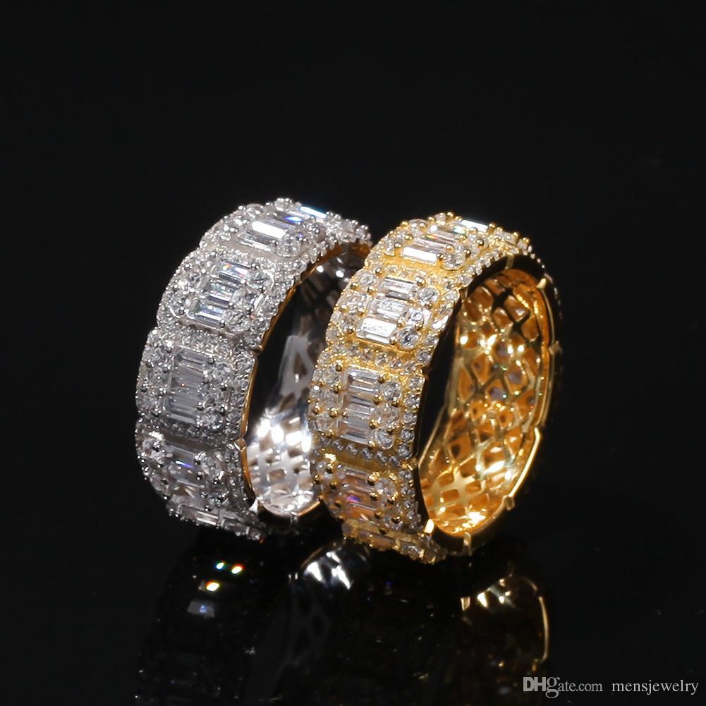 Gelado de diamante anel de luxo desenhador de luxo jóias mens anéis moda hip hop bling ouro noivado de casamento amor bague de luxo bague de diamant