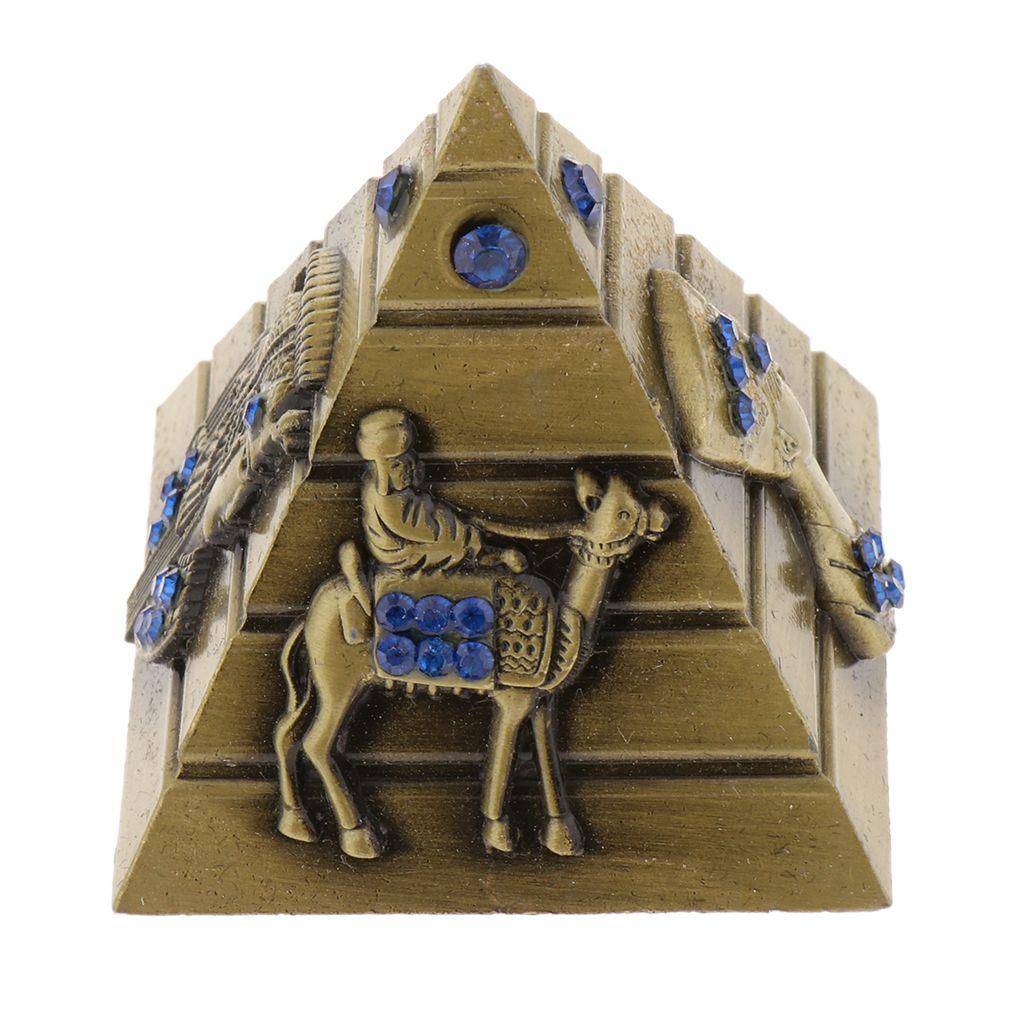 Las estatuas de la vendimia metal pirámides egipcias Edificio modelo de la pirámide de escritorio Decoración Adornos recuerdo Viajar