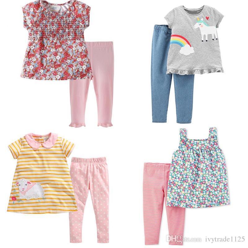 Baby-Mädchen nette Kleidung Kindeinstellt 100% Baumwollsommermädchen eingestellt Kurzarm voller Blüte Regenbogen-T-Shirt + Hose Kinder-Kleidungssätze