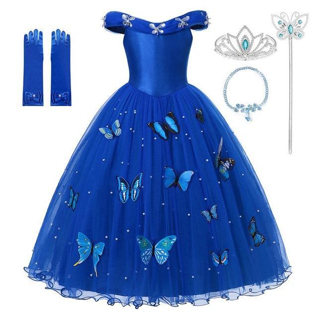 Princesa Cenicienta azul vestido de la ropa de la muchacha del hombro vestido de bola del desfile de traje de los niños mullido fiesta de Halloween de bolas Deluxe de envío