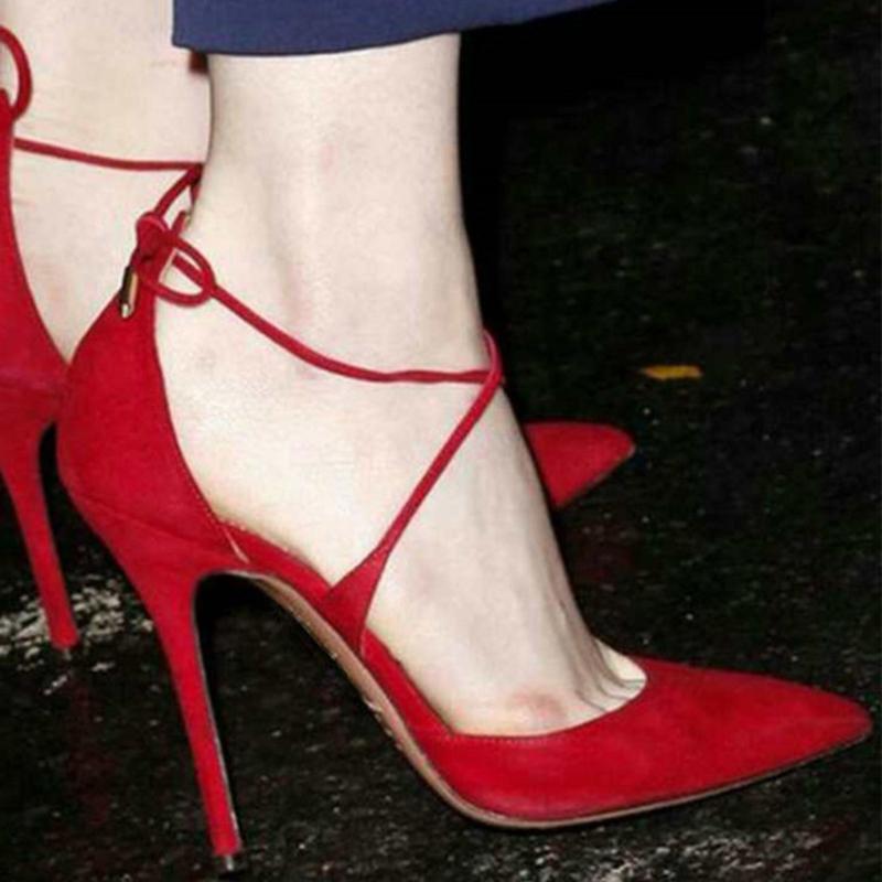 Kolnoo Fábrica Atacado Ladies High Heel Bombas Kid-camurça cadarço partido Prom Dress Shoes BFCM Tamanho Grande Moda diárias Calçados casuais M004