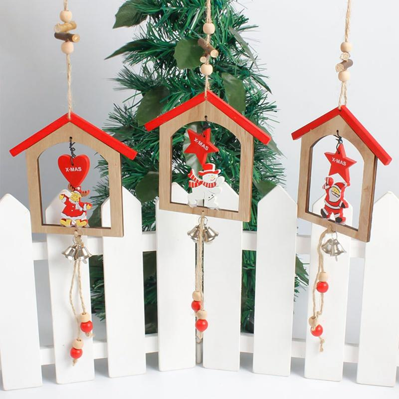 Christmas Wooden Pendants Ornaments DIY Creative Xmas Wood Tree Ornament Decoration Crafts Kids Gift Christmas Party Home Decor