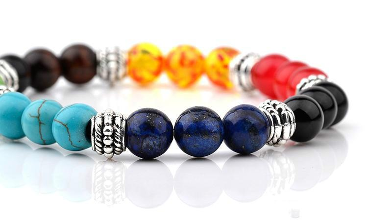Chakra Healing Beads Balance Bracciale Muti-colore Mens Bracciali Malachite Lava per le donne Reiki preghiera Yoga Bracciale Pietre