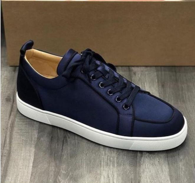Blue Velvet Silk couro vermelho Soles Sneakers Shoes Rantulow Plano sapatilha vermelha sapatos de fundo Júnior corte baixo Shoes Red Soles Formadores