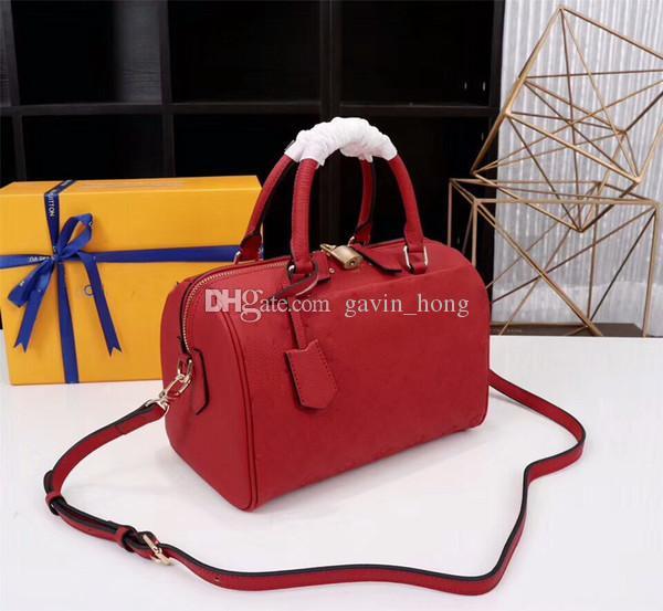 2021 bolsas de hombro de cuero con llave Genunie Lock Fashion Handbags Marca Almohada y Bolsa Speedy Designer Body Con Cruz Mujer 42400 Mumrt