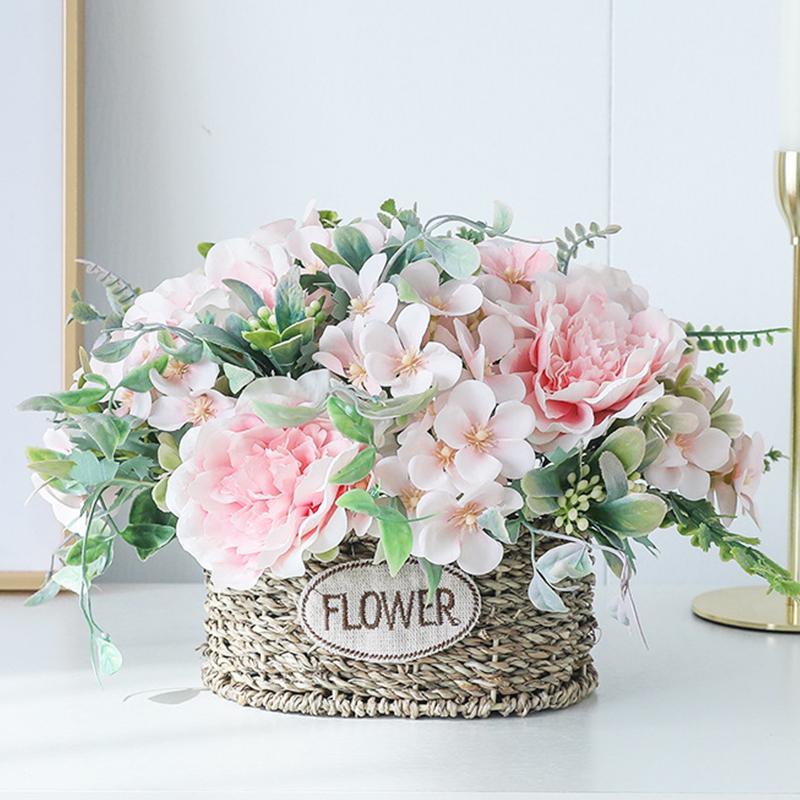 장미 꽃다발 인공 모란 실크 꽃 DIY 핑크 수국 플라스틱 가짜 꽃 홈 웨딩 장식 테이블 중앙에있는 장식물