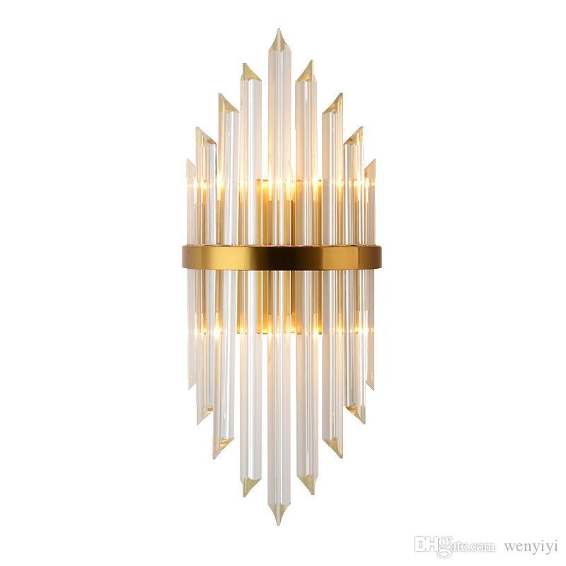 Lüks Altın Duvar Lambası Modern Kristal Duvar Aplik Aydınlatma Armatürü Oturma Odası Başucu Paslanmaz Çelik LED Duvar Işık