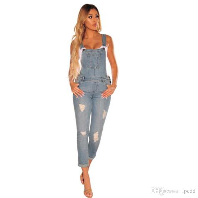 Compre Casual Denim Mono Mujer Pantalones Largos Mamelucos Mujer Mono Overoles Ripped Jeans Tiras Fuera Del Hombro Boyfriend Jeans A 18 26 Del Lpcdd Dhgate Com