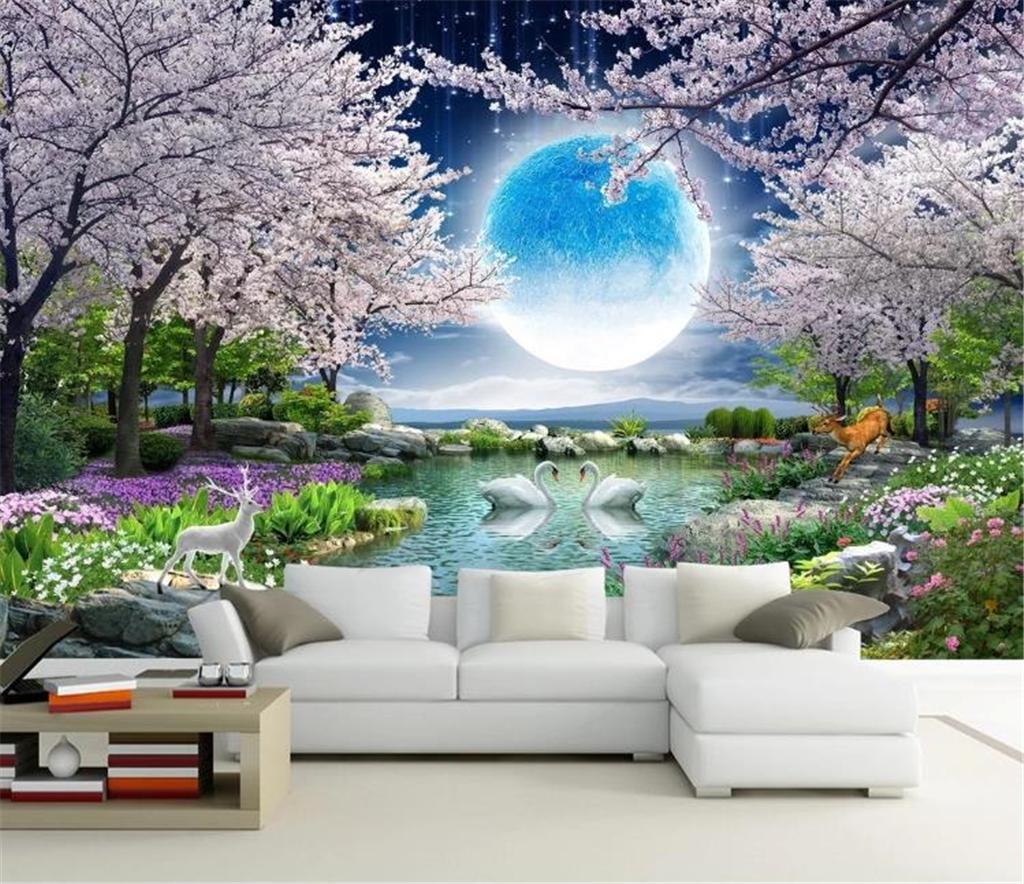 3d Wall Paper Moonlight Beauty Moon Flower Good Moon Cherry