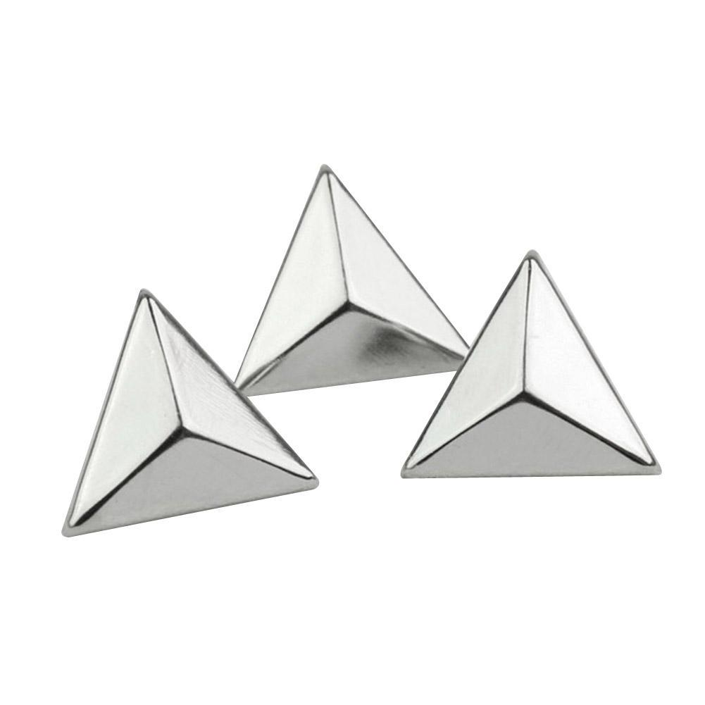 Punk Rock 15mm Silver Triangle Rivets Spike Studs Bag Belt Leathercraft Clothes DIY Accessories Craft 200pcs/set