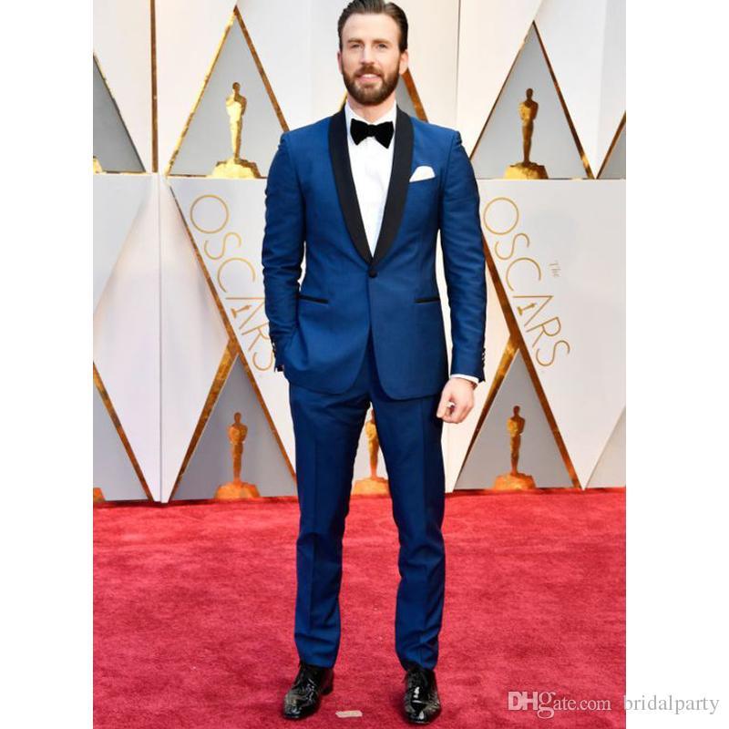 Hermoso traje azul marino para la fiesta de graduación para hombre Trajes de 2 piezas para chaqueta de novia + Pantalones Trajes de esmoquin de boda para hombre