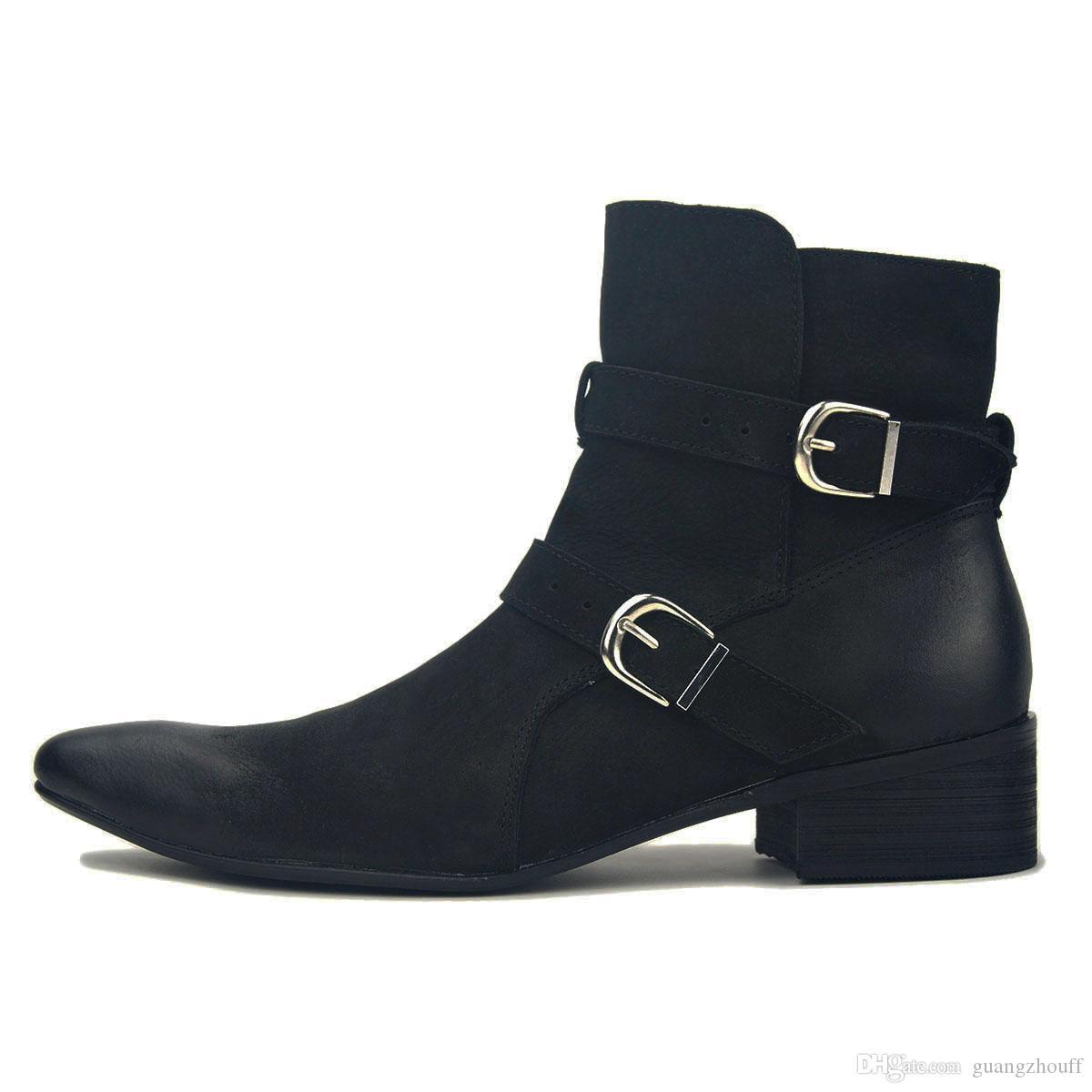 Мужская мода сапоги на молнии из натуральной кожи Ботинки мужские лодыжки обувь весна / осень Дизайнерские ботинки коровы кожаные ботинки