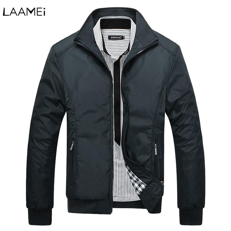 2019 Erkekler Sonbahar Kış Ceketler Klasik WINDBREAKER İnce Katı Fermuar Coat Casual Streetwear Ceketler İçin Erkek Oversize V191128 Isınma