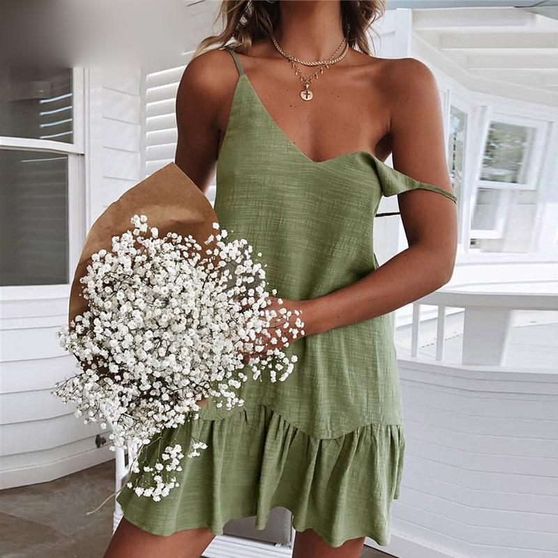 Mini vestido de correa de espagueti de verano sin espalda fuera del hombro amarillo blanco verde con volantes vestido de lino vestido de playa sexy mujer