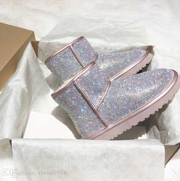 Ücretsiz nakliye tasarımcı Peluş kadın ayakkabıları moda kar botları bayan botları kış çizmesiz her türlü Swarovski Kristal Elmas 35-40