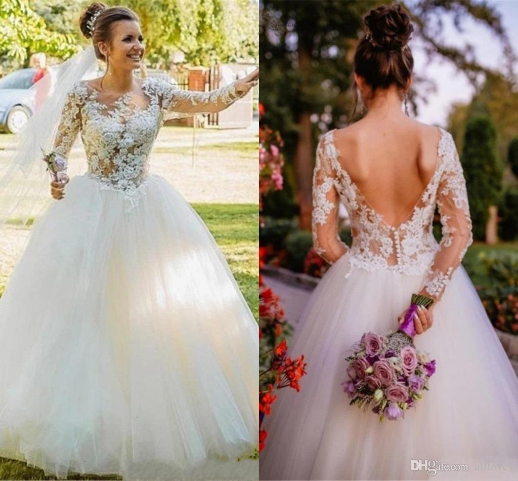 Illusion Appliqued Lace Ball Gown Wedding Dresses 2020 Jewel Neck Sheer Long Sleeve Bridal Gown Sexy Backless Vestidos De Novia AL5515