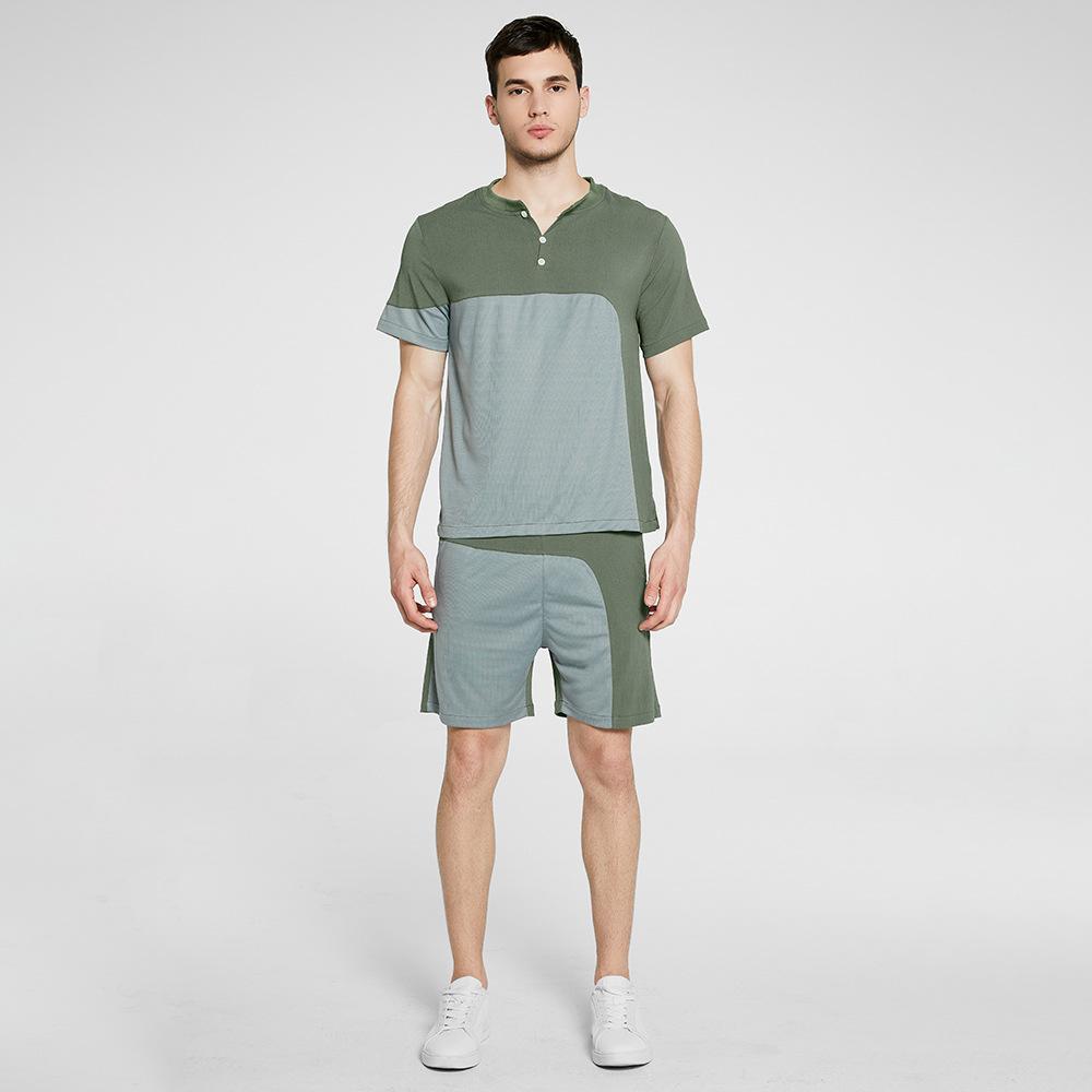 Fatos Homens de Moda 2020 Chegada Nova casual mens ternos duas peças Homens Painéis Esporte T shorts + 2 Styles Eur Tamanho S-2XL