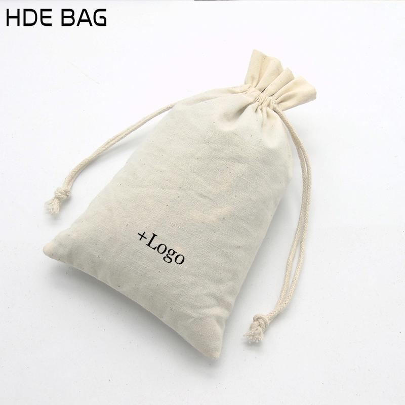15x21 cm Sacos de Embalagem de Algodão Puro Eco-friendly Organizador de Maquiagem Saco Cosmético Logotipo Personalizado Jóias de Armazenamento Sacos de Presente 20 pçs / lote