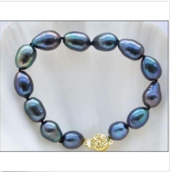 novo 10-12mm encantador barroco Tahitian azul pulseira de pérolas verde 7,5-8 INCH