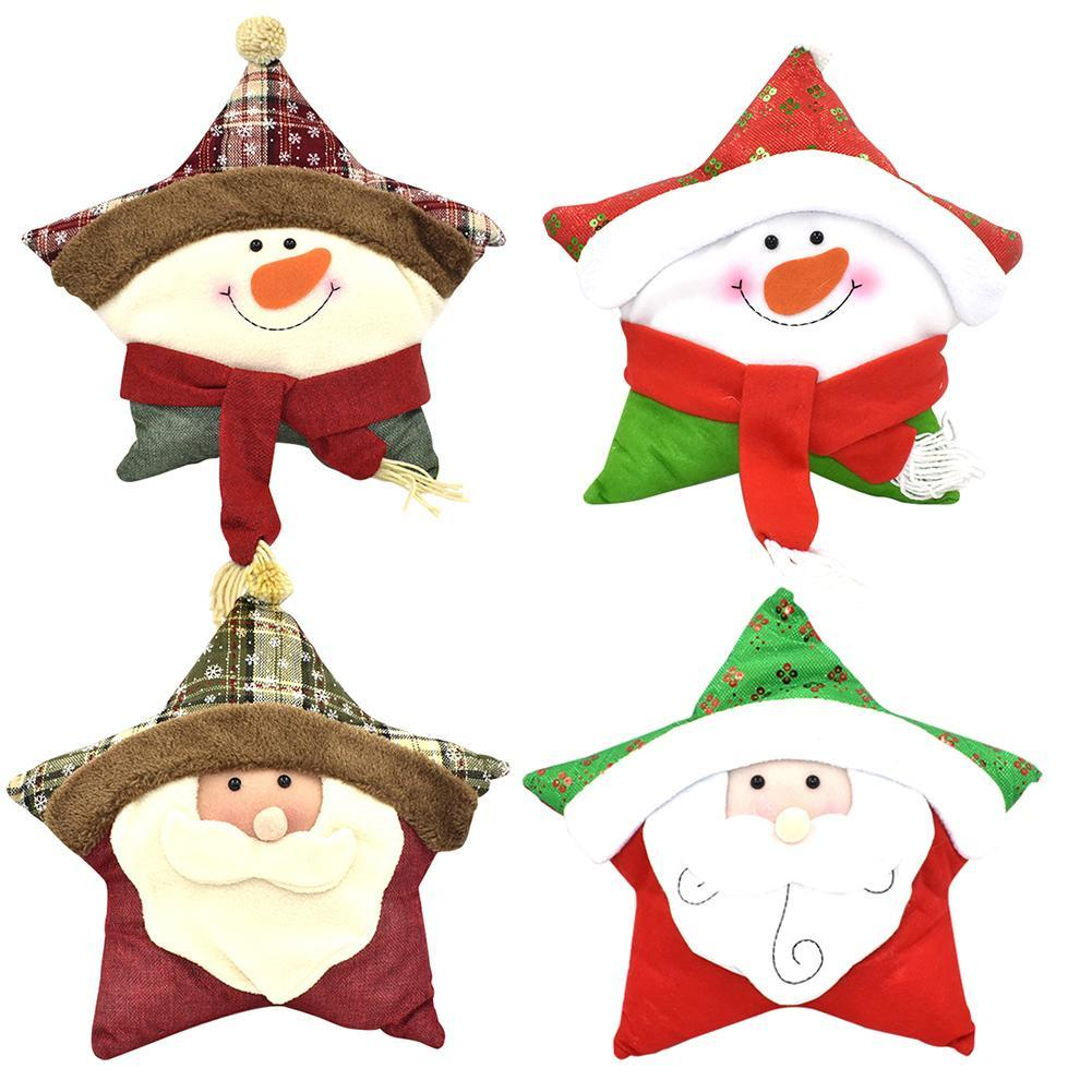 Christmas Gifts Christmas Pillow Snowman Five-Pointed Star Shaped Plush Pillow Decoration