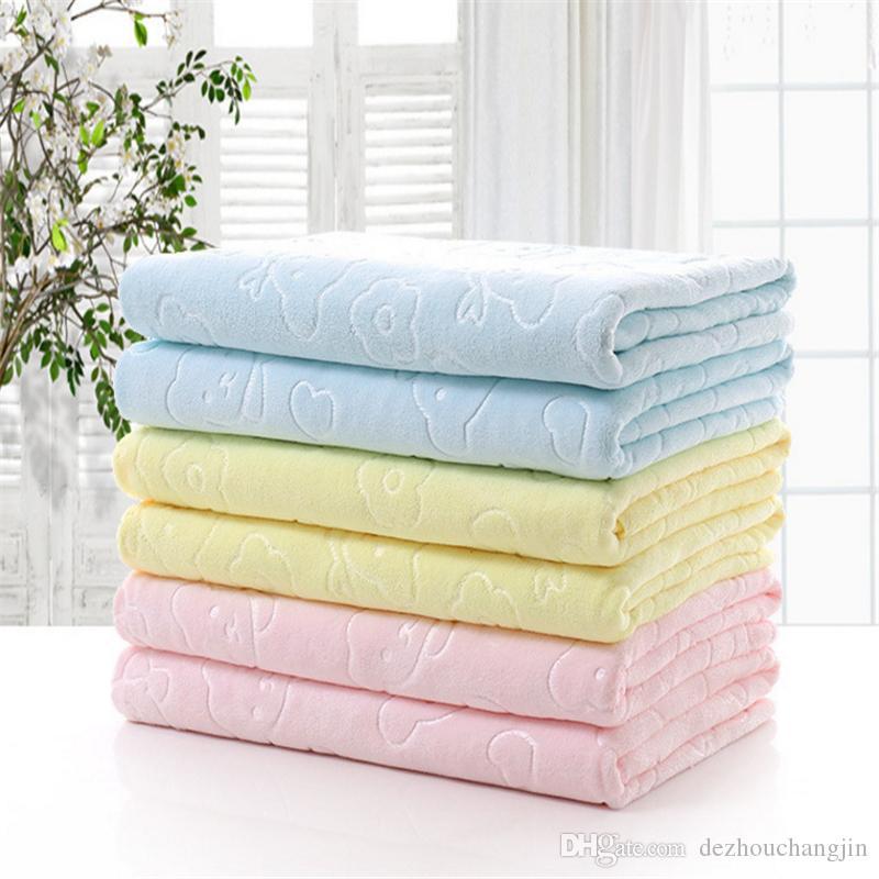 Microfiber тисненая медведь полотенце для взрослых детское полотенце 70 * 140 оптовой продажи фабрики