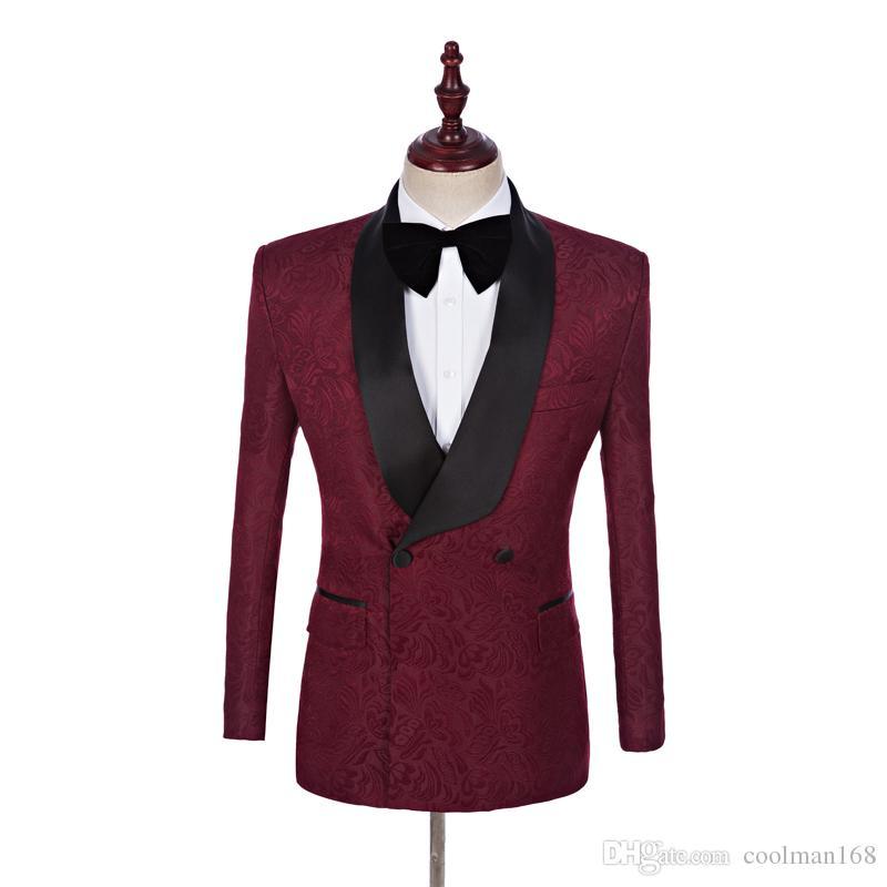 Жених смокинги бордовый тиснением мужчины свадебные смокинги черный отворот мужской пиджак пиджак мужской ужин / дартси костюм нестандартный дизайн (куртка + брюки + галстук)