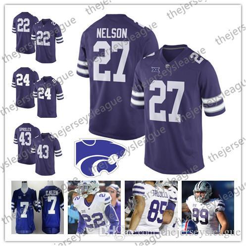 Kansas State Wildcats # 27 Jordy Nelson 43 Darren Sproles 16 Tyler Lockett 48 Glenn Gronkowski Camisetas de fútbol americano universitario NCAA blanco púrpura