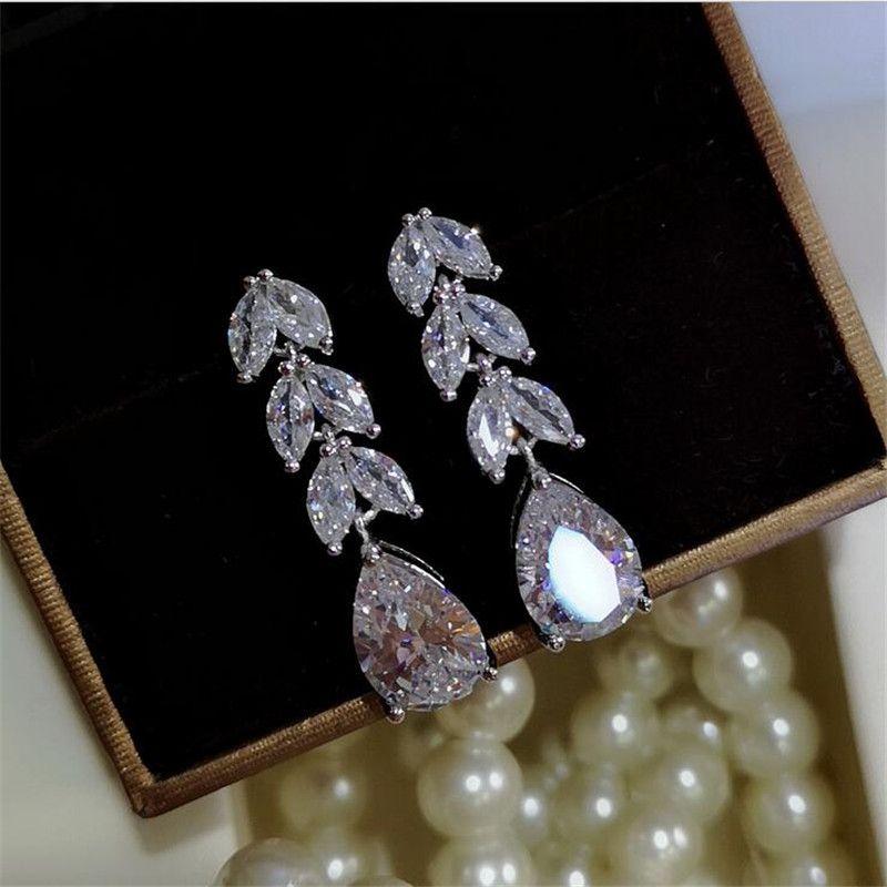 Choucong Yepyeni Lüks Takılar 925 Damla Su Küpe Beyaz Şeffaf 5A Taşlı Parti Ağacı Kadınlar Düğün Dangle Küpe Hediye