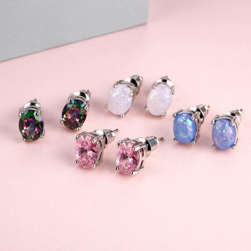 Sıcak Satış 925 Gümüş Oval Opal Taşlı Küpeler Kadın Çok renkli Pembe Taşlı Stud Küpe Ücretsiz Kargo