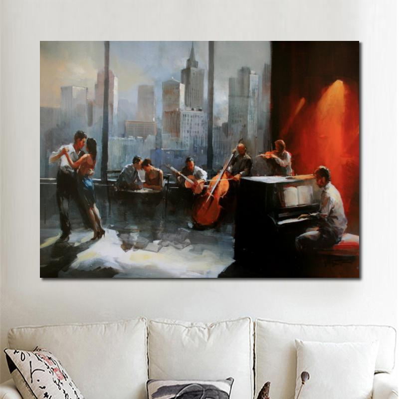 Wall art music oil Paintings cityscapes Musicroom with view on skyline Willem Haenraets landscapes art on canvas for room decor Hand painted