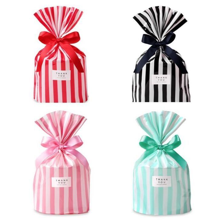 50 Adet Şeker Çantalar Sevimli Çizgili Plastik Torba Düğün Doğum Günü Çerez Şeker Hediye Paketleme Çanta Parti Iyilik