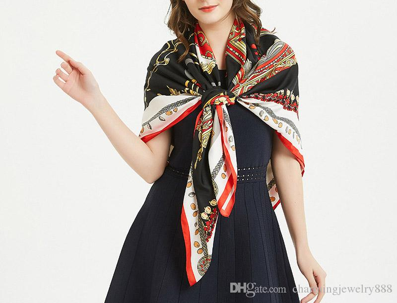 2019 New Brand Designer 130*130cm Large Size Imitation Silk Scarfs and Shawls Wraps Hijabs Pashmina Euro Stylish Print Designer Scarves Beac