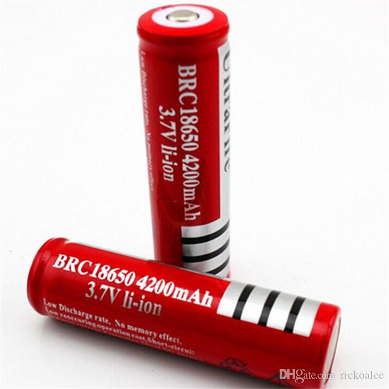 BRC18650 جديد للبطاريات قابلة للشحن البطارية Ultrafre 3.7V ليثيوم أيون ليثيوم 4200mAh للقلم ليزر LED العلوي مضيا