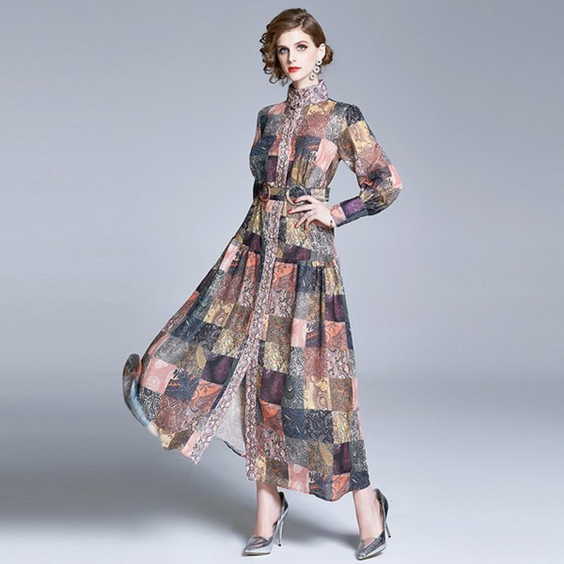 Autumn Party piste Robe longue Femmes manches à col roulé lanterne bouton vers le bas Maxi Dress Femme Marque Vintage Imprimer avec ceinture