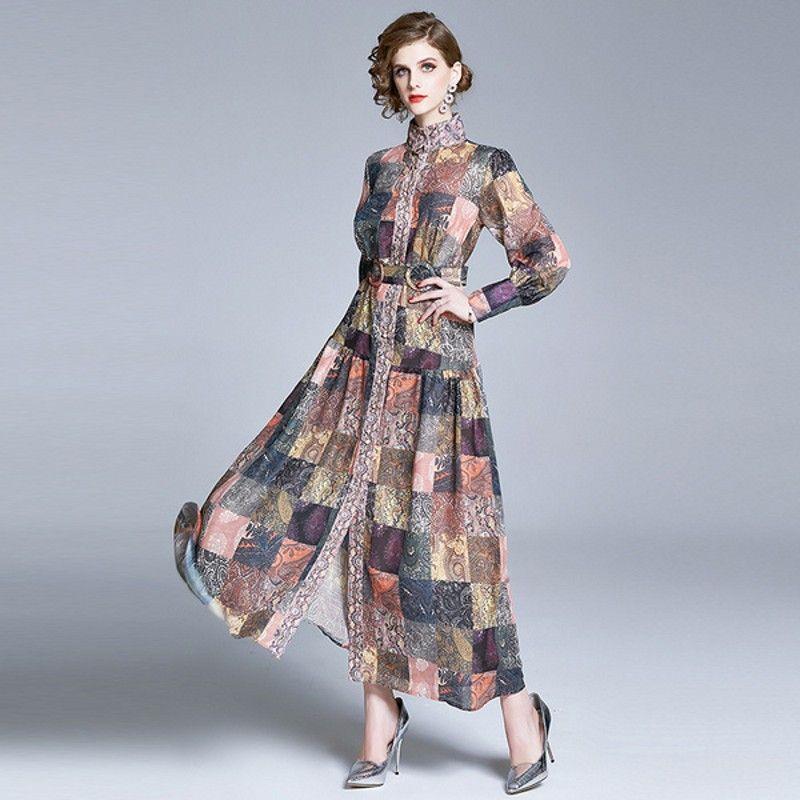 Pista Pulsante autunno partito lungo del vestito delle donne dolcevita manica lanterna giù Maxi abito femminile Vintage Stampa Marca con cintura
