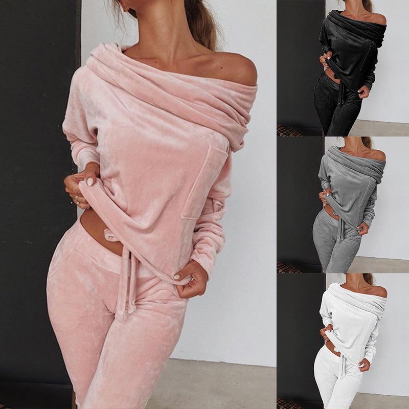 Felpa Donne 2 pezzi Set Tuta autunno una spalla Felpa ansima gli insiemi di sport di usura Tuta Velvet Lounge Suit T200630